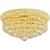 "French Empire 8-light Gold Finish and Crystal 16"" Round Flush Mount Medium Ceiling Light"