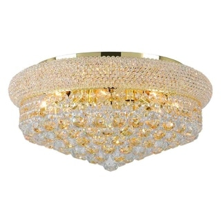 French Empire 10-light Gold Finish and Clear Crystal 20-inch Round Flush Mount Ceiling Light