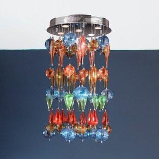 Multi-Color Blown Glass Bubble 7-light Flush Mount Ceiling Light