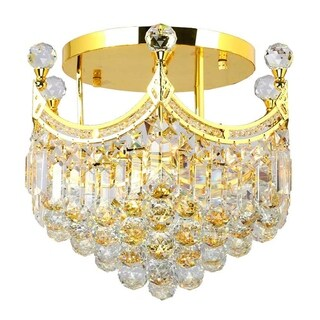 French Empire 6-light Gold Finish Crystal 16-inch Round Flush Mount Ceiling Light