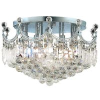 French Empire 9-light Chrome Finish Crystal 20-inch Round Flush Mount Ceiling Light