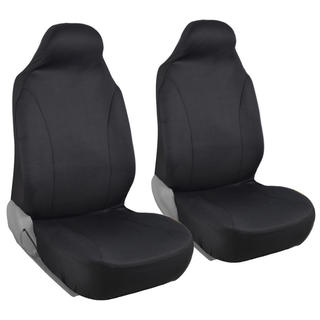 BDK Rome Flat Cloth Solid Black Front Pair of Bucket Seat Covers