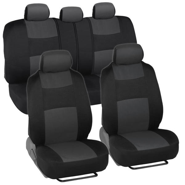 Shop BDK Black/ Charcoal Mesh Cloth Split Bench Car Seat