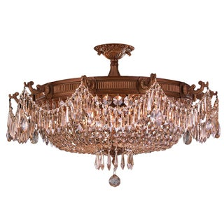 French Empire Basket Style Collection 10-light French Gold and Golden Teak Crystal Semi-flush Mount Ceiling Light