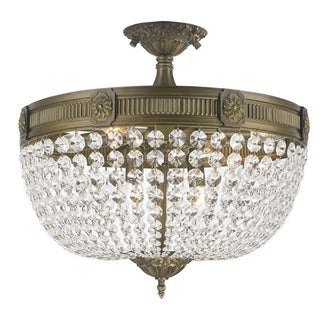 Traditional 6-light Antique Bronze Finish Crystal 20-inch Semi-flush Mount Ceiling Light
