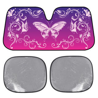 BDK Swirl Butterfly SunShade Mystic Butterflies Folding Accordion with Static Cling Sun Shade