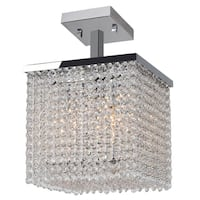 Glam Art Deco Style 4-light Crystal 10-inch Square Semi-flush Mount Ceiling Light