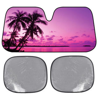 BDK Pink Sunset Sunshade Sailor's Delight at Night Folding Accordion with Static Cling Sun Shade