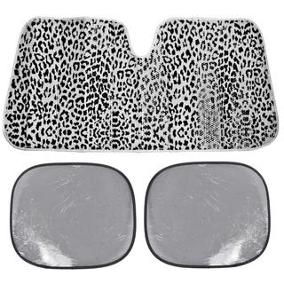 BDK Leopard White Print Sunshade Folding Accordion with Static Cling Sun Shade