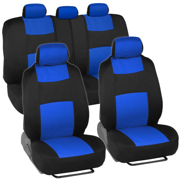 BDK Black Blue Mesh Cloth Split Bench Car Seat Covers Full Set