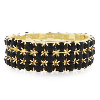 Gold Over Brass Black Crystal Bracelets (Set of 3)|https://ak1.ostkcdn.com/images/products/10199579/P17323783.jpg?impolicy=medium