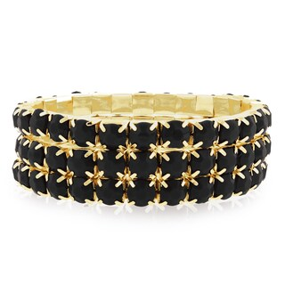 Gold Over Brass Black Crystal Bracelets (Set of 3)