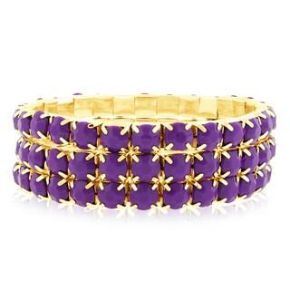 18k Gold Overlay 60ct Purple Amethyst Crystal Bracelets (Set of 3)