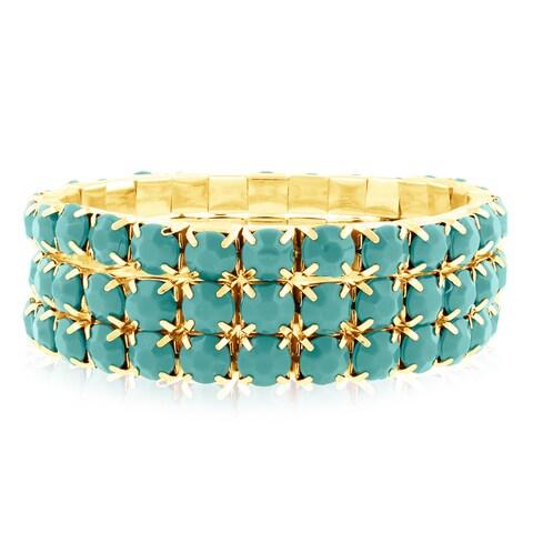 Gold Over Brass Turquoise Crystal Bracelets (Set of 3)