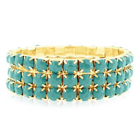 Gold Over Brass Turquoise Crystal Bracelets (Set of 3) - Green