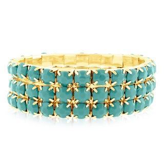 Gold Over Brass Turquoise Crystal Bracelets (Set of 3)