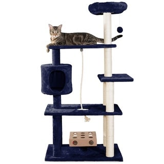 Tiger Toughfurhaven Tiger Tough Deluxe Playground Cat Tree House With Cat Iq Busy Box And Rope Blue Dailymail