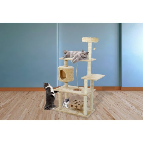 Deluxe Playground Cat Tree House with Cat-IQ Busy Box and Rope