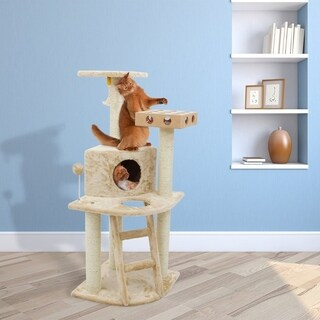Tiger Tough Deluxe Cat Furniture Clubhouse Cat Tree with Cat-IQ Busy Box