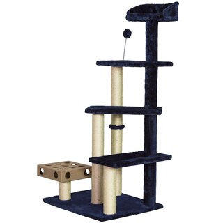 Tiger Tough Play Stairs Cat Tree House with Cat-IQ Busy Box (Option: Blue)
