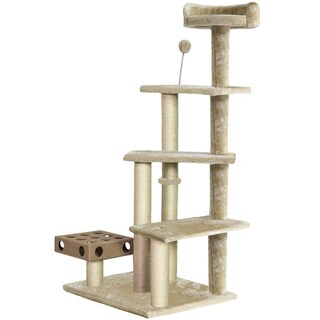 Tiger Tough Play Stairs Cat Tree House with Cat-IQ Busy Box (Option: Beige)