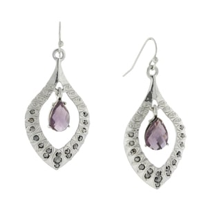 1928 Jewelry Silvertone Dazzling Teardrop Crystal-encrusted Amethyst-color Stone Earrings