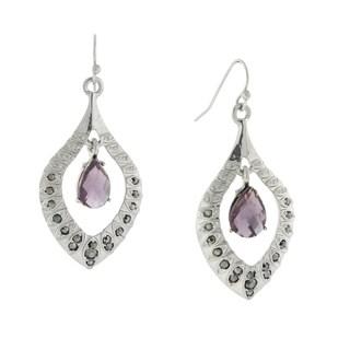 1928 Jewelry Silvertone Dazzling Teardrop Crystal-encrusted Amethyst-color Stone Earrings