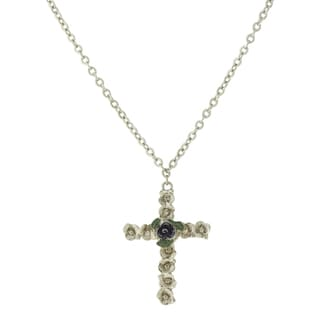 The Vatican Library Collection Silvertone Blue and Green Floral Enamel Cross Necklace