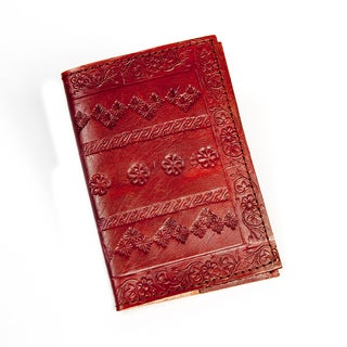 Handmade Embossed Brown/ Red Leather Passport Cover (India)