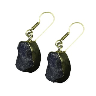 Goldplated Brass Tanzanite Rough-cut Gemstone Earrings (India)