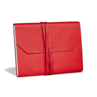 Red Leather Journal with Wrap Tie Closure (India)