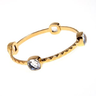 Goldplated Brass Faceted Crystal Quartz Bezel Bangle Bracelet (India)