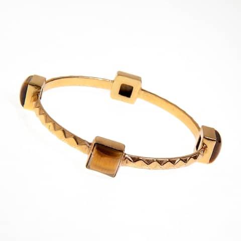 Handmade Gold Overlay Tiger Eye Bangle Bracelet (India) - Brown