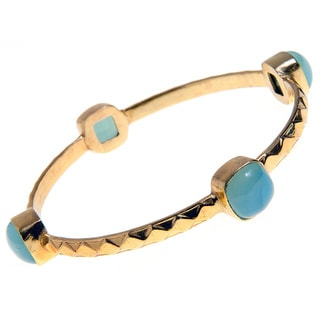 Goldplated Brass Cabochon Blue Chalcedony Bezel Bangle Bracelet (India)