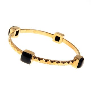 Handmade Gold Overlay Brass Cabochon Black Onyx Bezel Bangle Bracelet (India)|https://ak1.ostkcdn.com/images/products/10199661/P17323849.jpg?impolicy=medium
