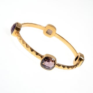 Goldplated Brass Faceted Smoky Quartz Bezel Bangle Bracelet (India)