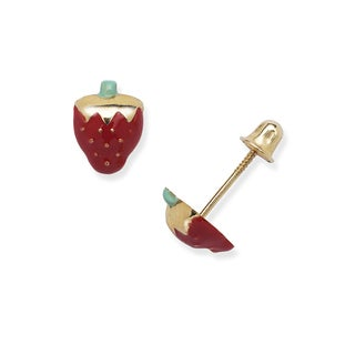 14k Yellow Gold Children's Enamel Strawberry Screw-back Earrings