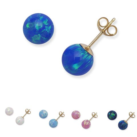 14k Yellow Gold 7mm Round Reconstructed Opal Ball Earrings