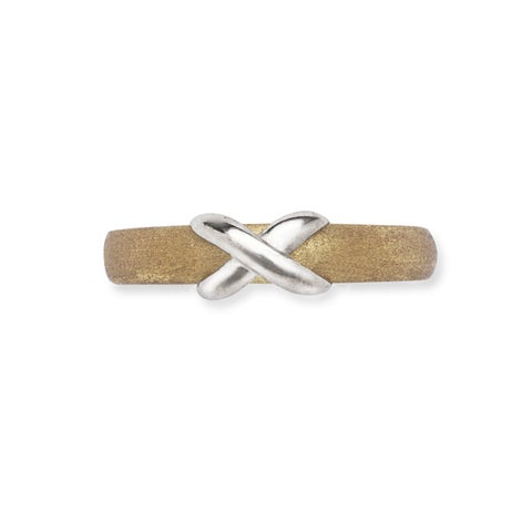 14k Two-tone Gold Satin Adjustable X Body Jewelry Toe Ring