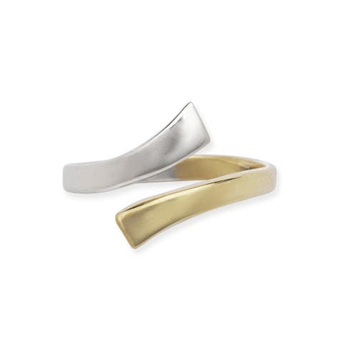 14k Two-tone Gold Bypass Adjustable Polished Toe Ring - White