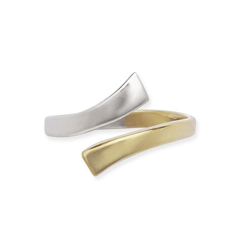 14k Two-tone Gold Bypass Adjustable Polished Toe Ring