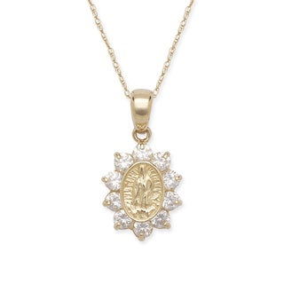 14k Yellow Gold Cubic Zirconia Halo Jesus Necklace