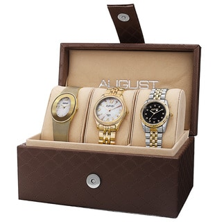 August Steiner Women's Quartz Diamond Stainless Steel Gold-Tone Bracelet Watch Set