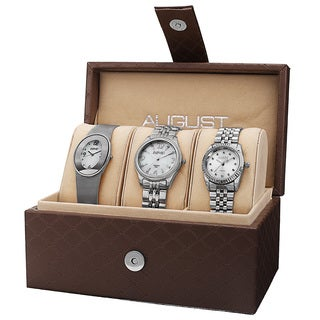 August Steiner Women's Quartz Diamond Stainless Steel Silver-Tone Bracelet Watch Set