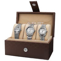 August Steiner Women's Quartz Diamond Stainless Steel Silver-Tone Bracelet Watch Set - silver