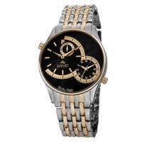 August Steiner Men's Swiss Quartz Dual Time Two-Tone Bracelet Watch - silver