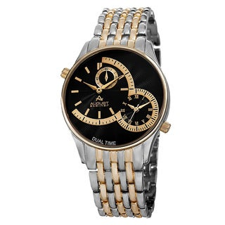August Steiner Men's Swiss Quartz Dual Time Two-Tone Bracelet Watch - silver