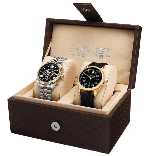 August Steiner Men's Swiss Quartz Multifunction Stainless Steel Canvas Strap/ Bracelet Watch Set