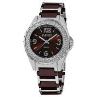 August Steiner Women's Quartz Crystal Studded Bezel Ceramic Link Brown Bracelet Watch