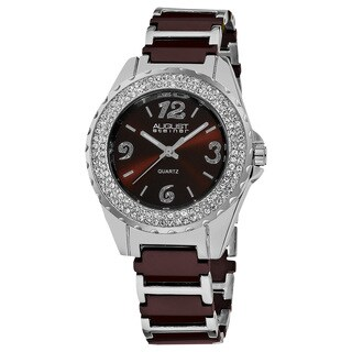 August Steiner Women's Quartz Crystal Studded Bezel Ceramic Link Brown Bracelet Watch with FREE Bangle